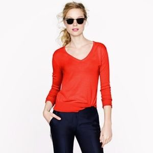 JCrew feather weight v-neck cotton sweater EUC